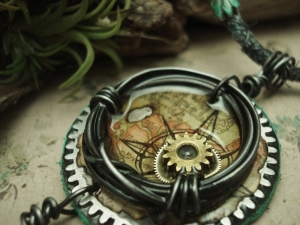the Time Traveler - Mixed Media Necklace 3