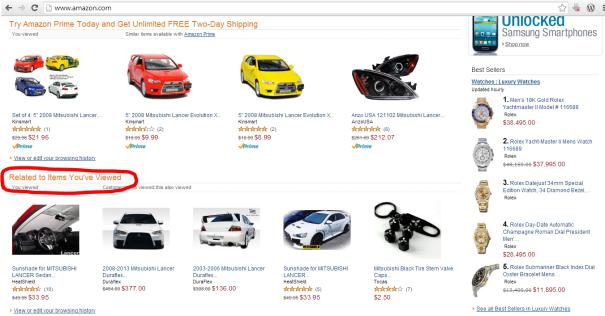 Halaman depan Amazon gara2 sering browsing Mitsubishi Lancer Evo